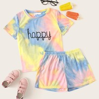 Girls Letter Print Tie Dye Tee & Shorts Set