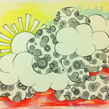 """Watercolor Painting & Ink Drawing - Clouds and Sunshine - Trippy and Colorful - 140 lb paper - 15"""" x 11"""""""