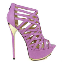 Amy-01 Lavender Peep toe Platform Pump Strappy Stiletto Heel - Cutesy Originals