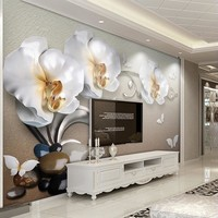 Custom Mural Wallpaper Flower Modern Fashion 3D Stereoscopic Relief  Butterfly Orchid TV Background Wall Decorations Living Room