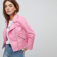 Only Faux Leather Cropped Biker Jacket at asos.com
