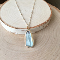 Exquisite Aquamarine, 5.76CTW, Faceted Tavernier-Cut in 14KY Gold and .925 Sterling Silver with Two-Tone Satellite Chain, Natural Aquamarine