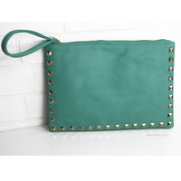 Leave Me Breathless Mint Studded Clutch