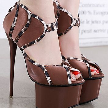 New hot sale fashion fish mouth super high heel sandals shoes