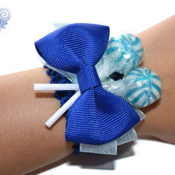 Royal Blue Candy Corsage, Lollipop Corsage, Candy Corsage, Royal Blue, Blue, Wedding, Prom Corsage, Homecoming, Bridesmaid, Maid of honor