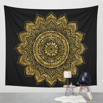 Datura flowers Tapestry Aubusson Colored Printed Decor Mandala Tapestry Religious Boho Wall Carpet LivingRoom Blanket Plus Size