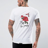 Rose London T-Shirt In White With Back Embroidery at asos.com
