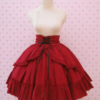 Custom in your color and fabric Red Maroon High Waist Skirt Gothic Lolita Ruffled