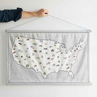 4040 Locust Stitched Map Wall Hanging- Grey One