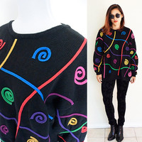 Vintage 80's novelty pullover sweater black embroidered colorful pop art graphic rave ugly christmas sweater
