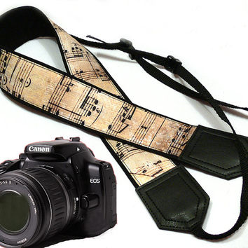 Music camera strap. Vintage Camera strap. DSLR Camera Strap. Camera accessories. Nikon Canon camera strap.