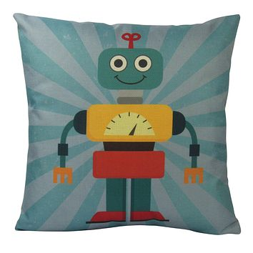 Robot | Blue |  Fun Gifts | Pillow Cover | Home Decor | Throw Pillows | Happy Birthday | Kids Room Decor | Kids Room | Room Decor