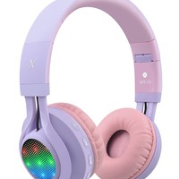 Riwbox WT-7S Bluetooth Headphones, LED Light Up Wireless Foldable Stereo Headset with Microphone and Volume Control for PC/ iPhone/ TV/ iPad (Purple)