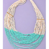 Fade to Blue Beaded Necklace