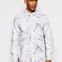 ASOS | ASOS Long Line Shirt With Long Sleeves And Concrete Print at ASOS