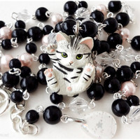 Tabby Cat Necklace, Cat Miniature Pendant, Black and Pastel Pink Rosary Chain in Silver - Kawaii Jewelry