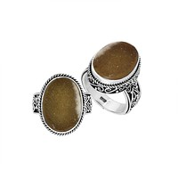 AR-9012-DZ-8'' Sterling Silver Oval Shape Ring With Druzy