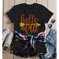 Women's Hello Fall T Shirt Leaf Arrow Shirts Thanksgiving Tee Graphic Season Tshirt