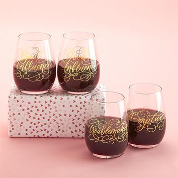 Partners in Wine Stemless Wine Glasses Set (2 Assorted Styles)