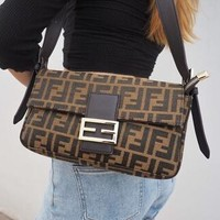 FENDI Classic Popular Women Shopping Bag Leather Canvas Handbag Shoulder Bag Crossbody Satchel