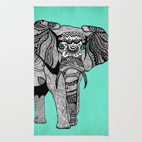 Tribal Elephant Black and White Version Area & Throw Rug by Pom Graphic Design