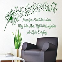 Wall Decals Vinyl Decal Sticker Wording Family Dandelion Flower Quote Music Gives a Soul to the Universe Wings to the Mind Flight to the Imagination and Life to Everything Bedroom Decor Living Room Beauty Salon Home Interior Design Kg892