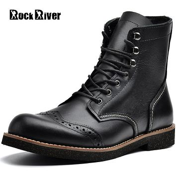High Quality British Brogue Boots Men Genuine Leather Ankle Boots Autumn Black Brown Handmade Motorcycle Men Boots Winter Shoes