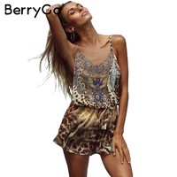 Leopard Print Brown Jumpsuits Romper Women Backless Strap Chiffon Playsuit Summer Beach Sexy Sleeveless Overalls