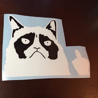 Grumpy cat gives the finger car decal