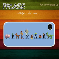 Pixar Toy Story Character on blue Pattern: Handmade Case for Iphone 4/4s , Iphone 5 Case Iphone