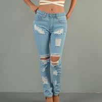 Oh Boy High Waisted Pants Destroyed Jeans