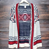 FINAL SALE - Mod Lightweight Tribal Cardigan Aztec in Rust