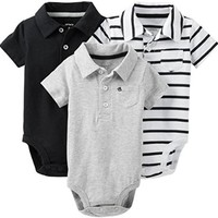 Carter's Baby Boys' 3 Pack Polo Bodysuits (Baby) - Black - 3 Months