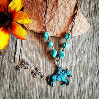 Chunky Turquoise Cowgirl Necklace