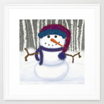 Puffy The Snowman Framed Art Print by One Artsy Momma