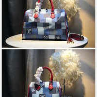 HCXX 19Aug 021 LV Louis Vuitton Patchwork Fashion Casual Duffel Bag Hight-capacity Handbag Size 30cm Size 20cm