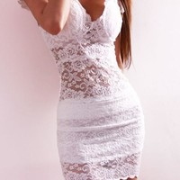 White Patchwork Lace Hollow-out Grenadine Short Sleeve Mini Dress
