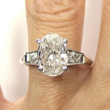Reserved...1930s...2.12ct Antique Vintage Platinum OVAL Cut Diamond  SOLITAIRE Engagement Ring Wedding Band