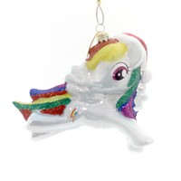 Licensed MY LITTLE PONY ORNAMENT Glass Rainbow Santa Hat Ml4141
