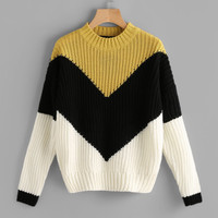 Color Block Chevron Jumper -SheIn(Sheinside)