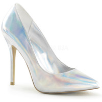 Silver Hologram Pointy Slip-On Pumps