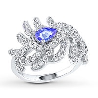Feather Ring Tanzanite/Topaz Sterling Silver