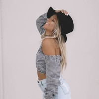 Happy Daze Black & White Gingham Crop Top