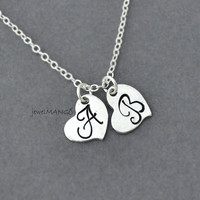 Dainty Two Hearts Initial Necklace , two heart, double heart necklace, love necklace, heart pendant, initial necklace, monogram, cursive
