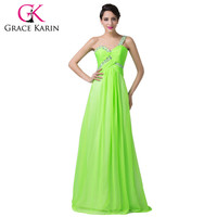 ! Bright Beautiful Long one Shouler Sweetheart Sequins Green Prom Dress Chiffon Floor Length CL6237