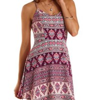 Strappy-Back Boho Print Skater Dress by Charlotte Russe - Pink Combo