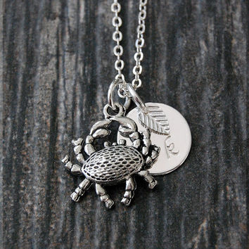 Silver Crab Charm Necklace, Initial Charm Necklace, Personalized, Zodiac Cancer Charm, Crab Pendant, Ocean Creature Jewelry, Beach charm
