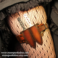 Leather Steampunk Leg Garter w/ Throwing Knives -Made to Order-