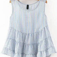 Blue Striped Peplum Layered Sleeveless Tank Top