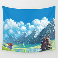 Howls Moving Castle Wall Tapestry by Roberto Nieto